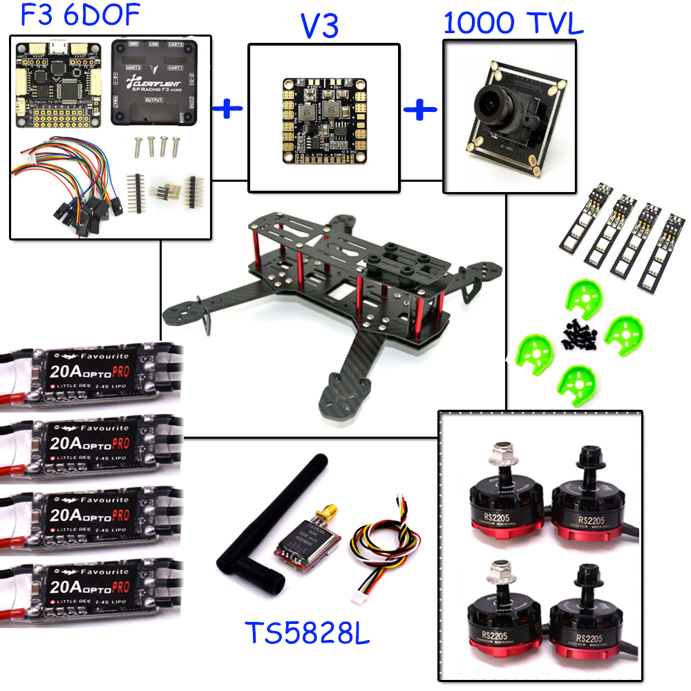 LHI QAV 250 Carbon Fiber Quadcopter Frame qav250 drone with camera F3 Flight Controller emax RS2205 2300KV Brushless Motor frame f3 flight controller emax rs2205 2300kv qav250 drone zmr250 rc plane qav 250 pro carbon fiberzmr quadcopter with camera