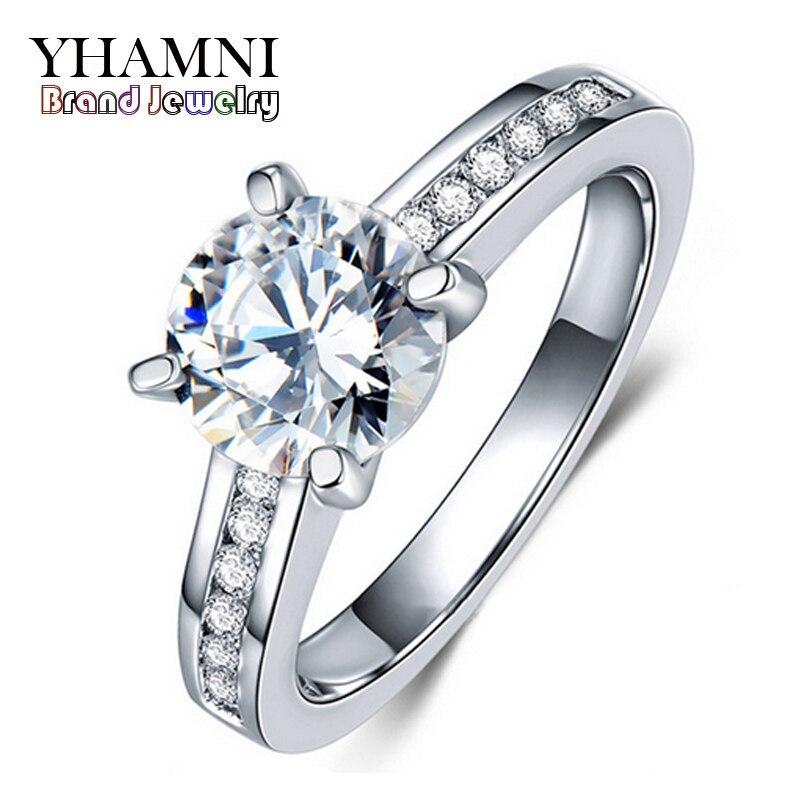 Классические Четыре зубец кольцо из белого золота обручальные кольца комплект 2 карат SONA обручальное кольцо с фианитами кольца для Для женщ...