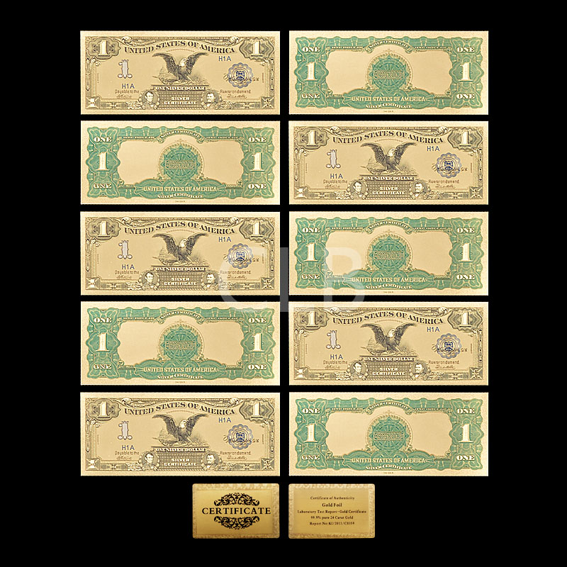 1 Set 7 Pcs Gold Plated US dollar Paper Money Banknotes Crafts For Collect Kw