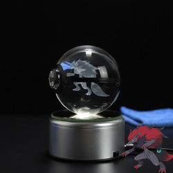 Dropshipping Pokemon zoroark Design LED Crystal 3D Pokeball Ball Night Light Desk Table Lamp