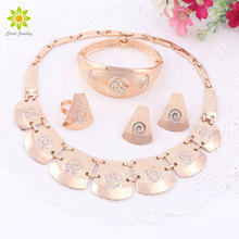 Dubai Gold Color Jewelry Sets Nigerian Wedding African Beads Crystal Bridal Statement Necklace Jewellery Sets