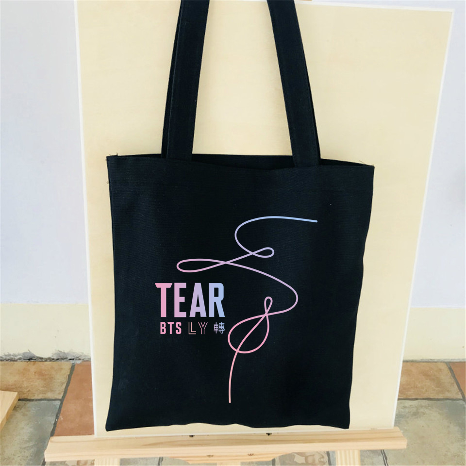 Bts Kpop Love Yourself Tear Funny New Album Fake Love High Quality Women Big Foldable Shopping Bags Canvas Cotton Shoulder Bag