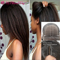 Affordable Italian Yaki 4x4 Silk Top Lace Front Wigs Brazilian Virgin Hair Kinky Straight 4*4 Silk Base Front Lace Wigs