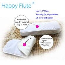 Бамбуковая хлопковая вставка для подгузников с сухой замшевой тканью или волокном bam, для всех HappyFluteOnesizeDiaperCover, карманная Пеленка, 35x13,5 см