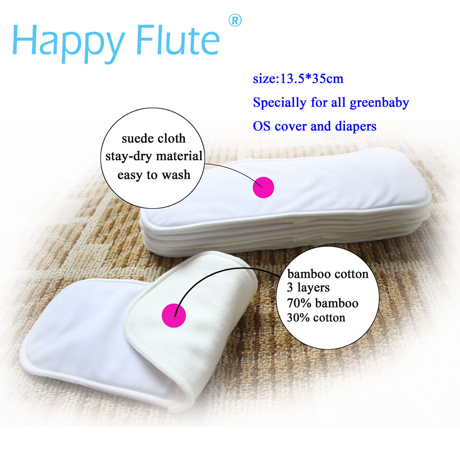 Bamboo Cotton Diaper Insert With Stay-dry Suede Cloth Or Bam Fiber,ForAll HappyFluteOnesizeDiaperCover, Pocket Diaper,35 X13.5cm