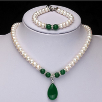 2015 Fashion Design Real Freshwater Pearl And Green Agate Jewelry Set Women S Birthday Gift Wedding