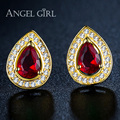 Angel Girl water design Gold Plated Red CZ stone Stud Earrings for Women 2016 fashion jewelly the earrings for girls