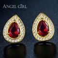 Angel girl água projeto banhado a ouro red cz pedra brincos para as mulheres 2016 moda jewelly os brincos para as meninas