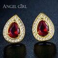 Angel girl agua diseño chapado en oro rojo piedra de la cz stud pendientes para las mujeres 2016 de la manera jewelly el pendientes para las niñas