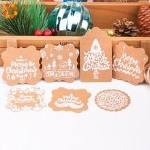 50PCS Frohe Weihnachten Serie Kraft Papier Tags Mit Seil DIY Handwerk Papier Hängen Tag Weihnachten Party Etiketten Geschenk Verpackung liefert