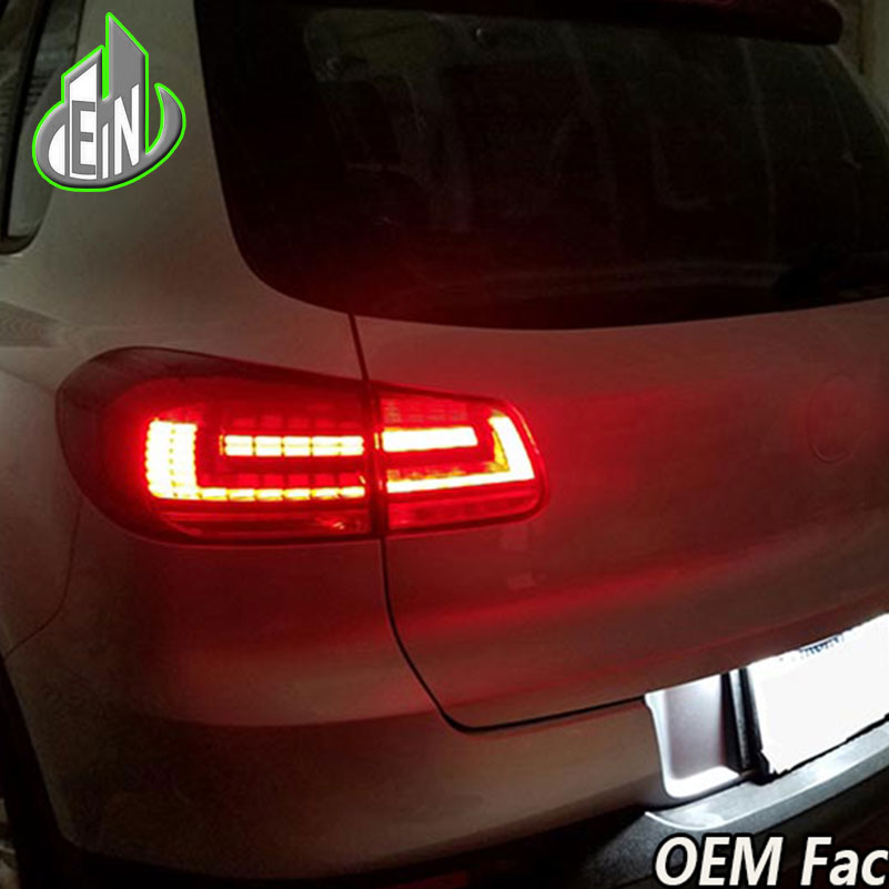 EN Car Styling for VW Tiguan Tail Lights 2013-2015 Volks Wagen New Tiguan LED Tail Light Rear Lamp DRL+Brake+Park+Signal jgrt car styling for vw tiguan taillights 2010 2012 tiguan led tail lamp rear lamp led fog light for 1pair 4pcs