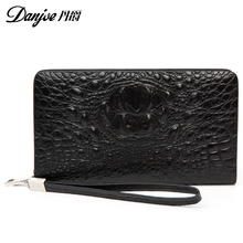 Genuine Cow Leather 3D alligator clutches for men Carteras Luxury Male Real Leather Purse Men's Wallets Handy Bags