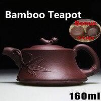 160ml Yixing Teapot Purple Clay Bamboo Tea Pot Handmade Chinese Kung Fu Zisha Kettle Bonus 3