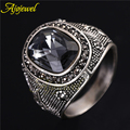 Ajojewel Brand New Luxury Man Jewelry Big Chunky Vintage Retro Grey Crystal Silver Plated Finger Ring Men (Size 8-11.5 )