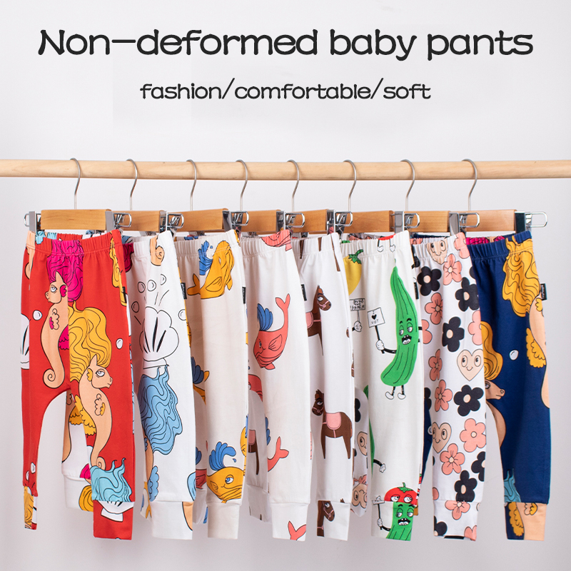TinyPeople New Infant Ins Cartoon Print Cotton Spring Summer Baby Pants Baby Girls Boys Leggings Toddler Newborn Cute Trousers