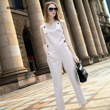 2 Piece Set 2018 Autumn Women Beige Sleeveless O-neck Modis Casual Club Vest Top and Full Length Suit Pants Two Ladies