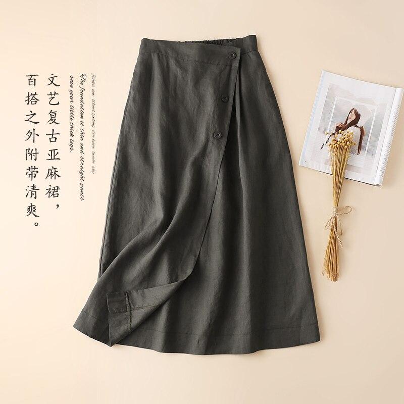 ฤดูใบไม้ผลิผู้หญิง Mori สาวหลวมทั้งหมดตรงกับสบายเอวยืดหยุ่นเอวฝ้ายผ้าลินิน A   Line กระโปรง-ใน กระโปรง จาก เสื้อผ้าสตรี บน   3