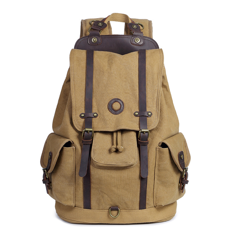 M161 Multifunction Vintage Leather Military Men Canvas Backpack School Bag  Drawstring Backpack Women 2018 Bagpack Male Rucksack-in Backpacks from  Luggage ... 64bc8ddd6b8a4