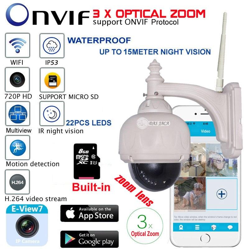 bilder für Optischer Zoom Len 1,0 mega 720 P Drahtlose WiFi Ip-kamera Außen PTZ Wasserdichte H.264 HD Cctv Kamera Wifi Nachtsicht