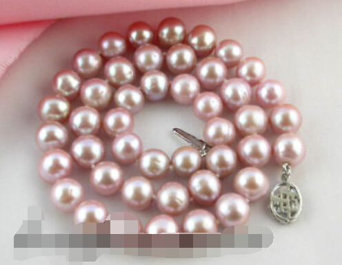 FREE SHIPPING 8-9MM  round lavender purple FW pearl necklace 18INCH