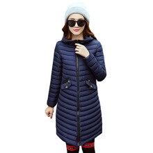 2017 Female Warm Winter Jacket Women Coat Thin Down Cotton Parka Ultra-light Cotton-padded Jacket Long Outwear Plus size 4L19