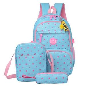 Image 1 - 3 pcs/sets High Quality School Bag Fashion School Backpack for Teenagers Girls schoolbags kid backpacks mochila escolar