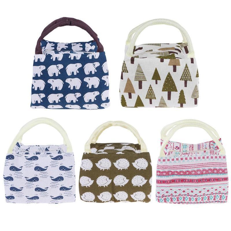 Portable Lunch Bag Insulated Canvas Bag Thermal Food Picnic Kids Bento Bag Cartoon Travel Picnic Lunch Food Storage Bag