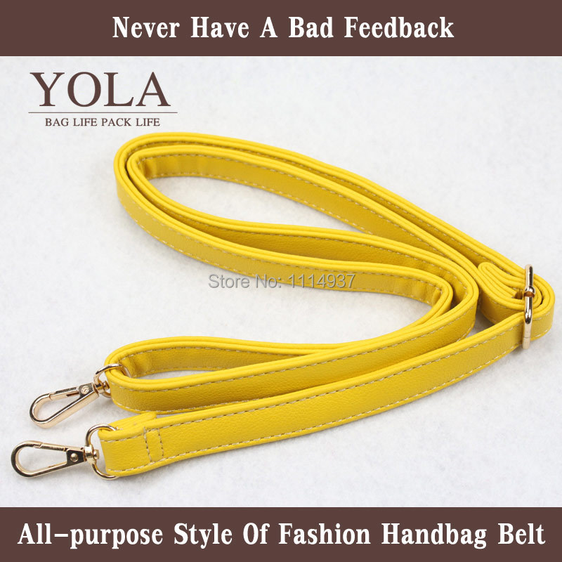Free shipping 2015 hot sel PU leather belt male and female bag shoulder straps yellow 2