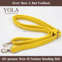 Free shipping 2015 hot sel  PU leather belt male and female bag shoulder straps  yellow  2.0cm