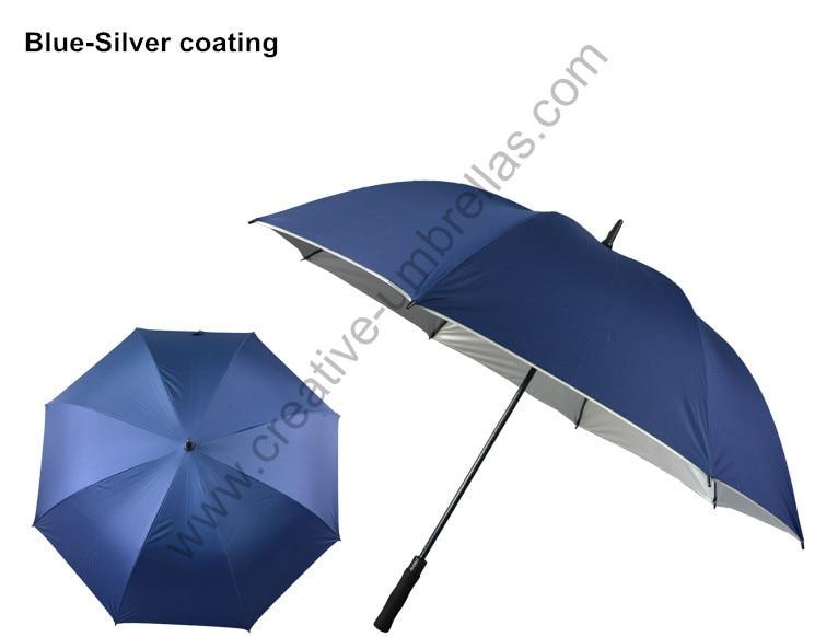 Diameter 130cm 3pcs/lot lake blue pongee silver coating-2 times golf umbrellas.fiberglass,auto open,anti static,anti thunder