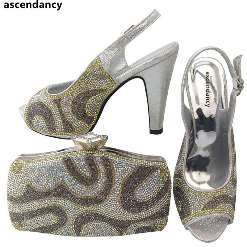 Argent couleur cristal pierre nigériane chaussures assorties sac chaussures italiennes et sacs ensemble strass chaussures de mariage et sac ensemble