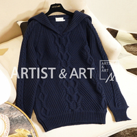 Youe Shone New High End 2018 women Autumn Winter Classic Navy Blue Collar Warm Soft Woolen Sweater