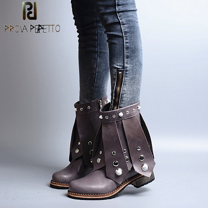 Prova Perfetto Autumn Winter Women Tassel Low Heel Martin Boots Genuine Leather Rivet Studded Knight Boots Fringe Flat Shoes prova perfetto autumn winter new genuine leather low heel women mid calf boots round toe thick bottom comfortable martin boots