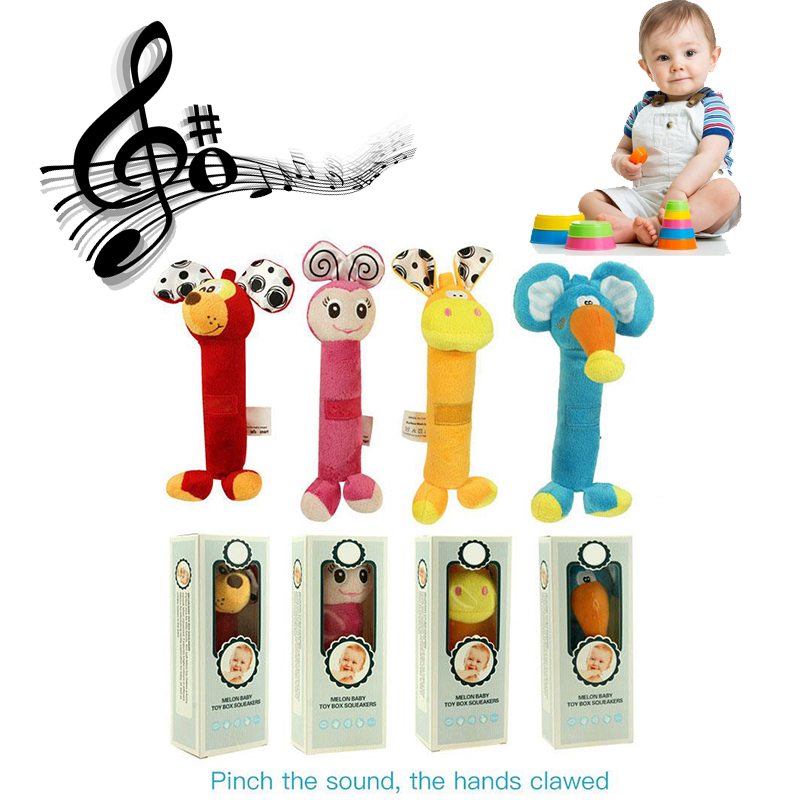 Colourful Animals Infant Baby Rattles Soft Plush Toys Kids Car Handing Mobiles BB Sounder Ringbell Baby Teether