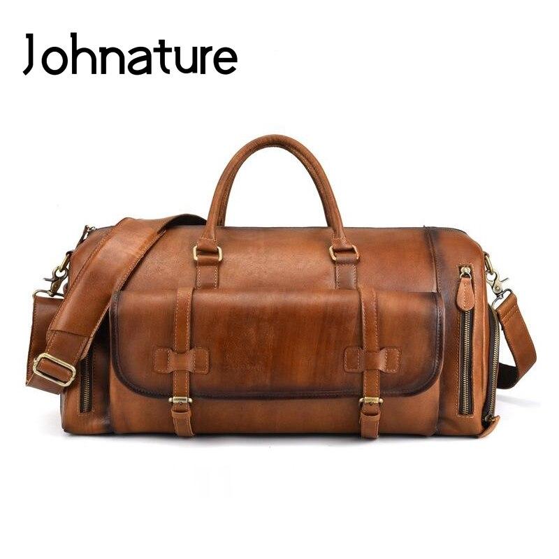 Johnature 2019 새로운 정품 가죽 빈티지 대용량 솔리드 여행 토트 남자 여행 가방 더플 백 핸드백 & 크로스 바디 가방-에서여행 가방부터 수화물 & 가방 의  그룹 1