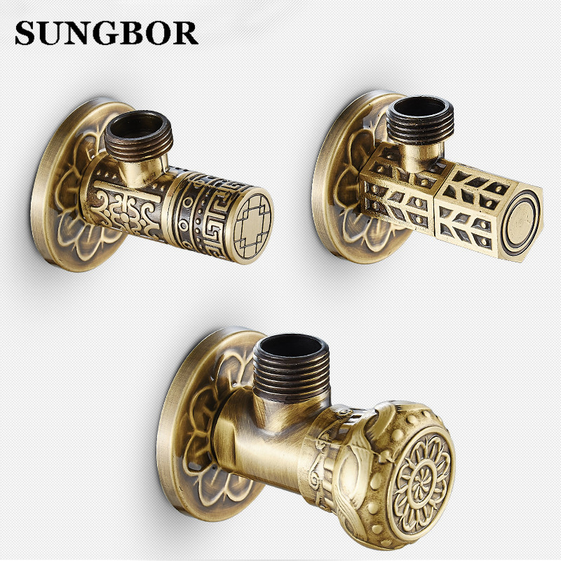 Free Shipping Antique Brass Triangle Valve Bathroom Accessory 1/2*1/2 Brass Angle Valves JF-840F