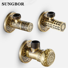 Free Shipping antique brass Triangle valve bathroom accessory 1/2*1/2 brass angle valves JF-840F 2 pcs 1 2 male x 1 2 male brass bathroom angle stop valve chrome copper tap toilet bathroom basin laundry