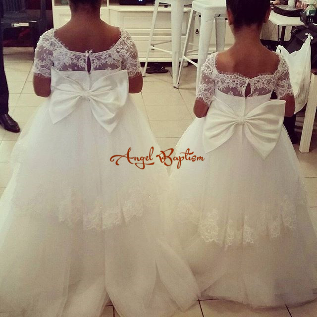 2016 white/ivory Short Sleeves Lace Flower Girl Dresses for Wedding Ball Gowns first communion dresses for girls pageant dresses