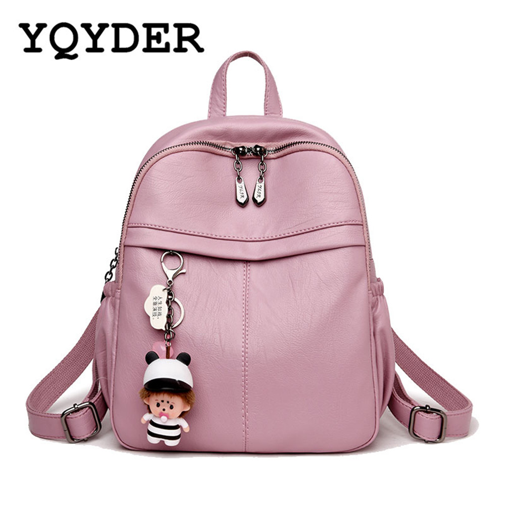 Backpack Female Cartoon Pendant Solid School Bags for Teenager Girls Pu Leather Women Shoulder Bag Large Travel Bags Mochila