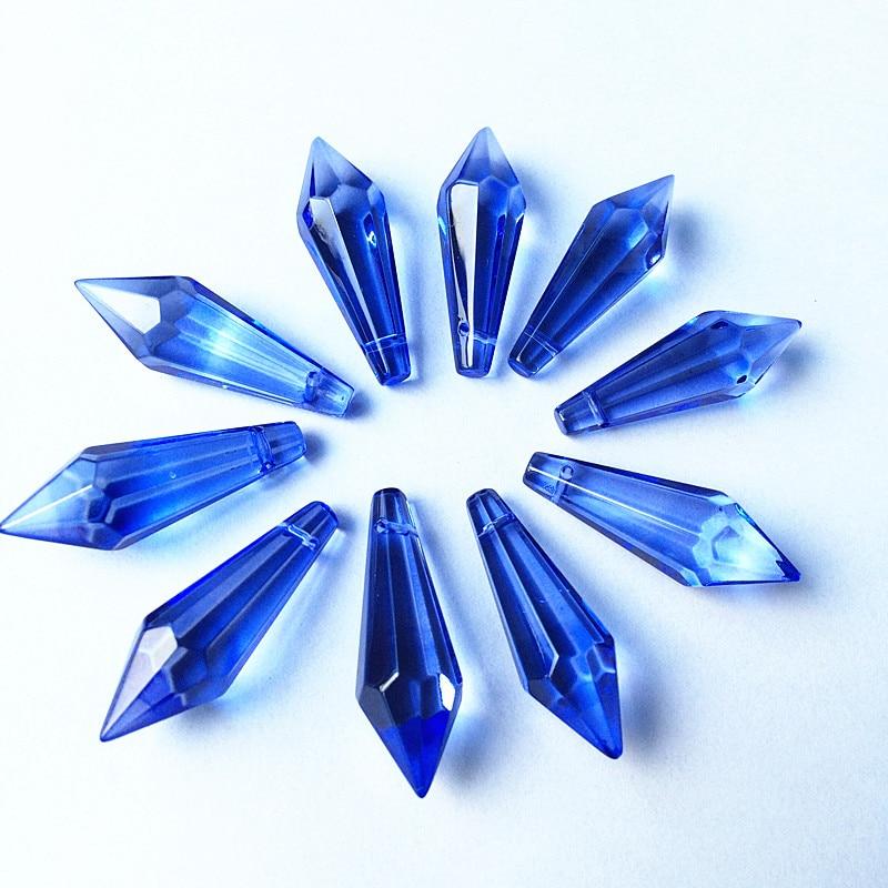 K9 Хрустальная люстра подвески призмы(бесплатное кольцо) многоцветная огранка и граненое стекло 36 мм u-сосулька капли для украшения торта - Цвет: Light blue