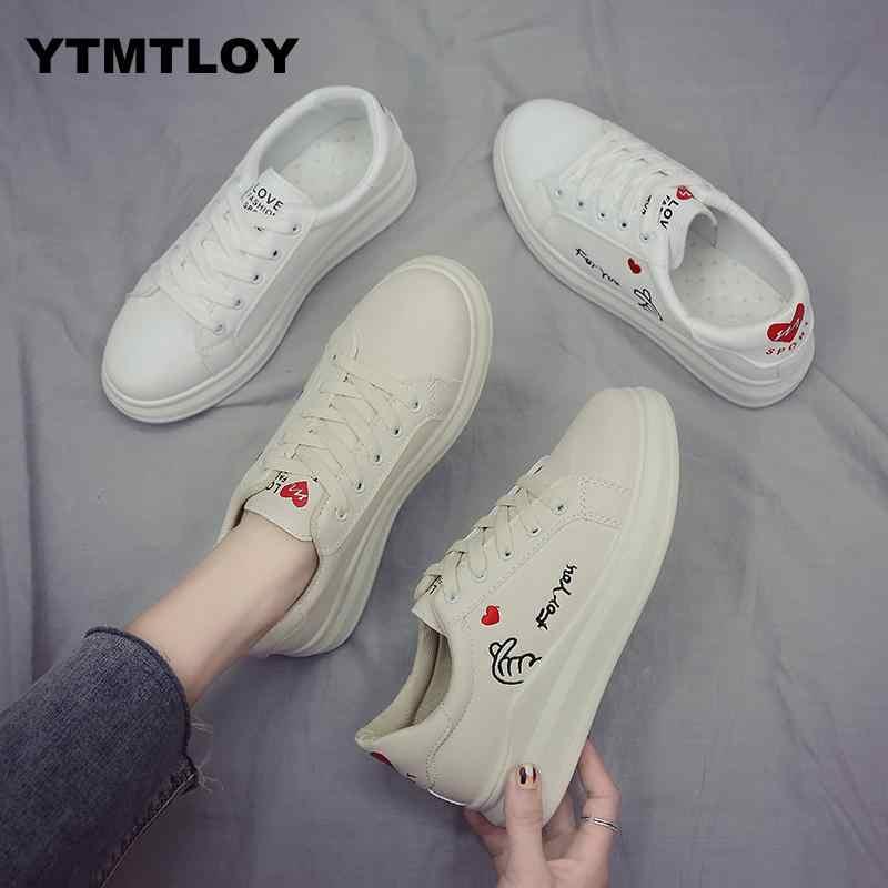 2019 Vrouwen Casual Schoenen Herfst Sneakers Fashion Ademend PU Leer Platform Zachte Footwears Off Witte Schoenen Zapatos De Mujer