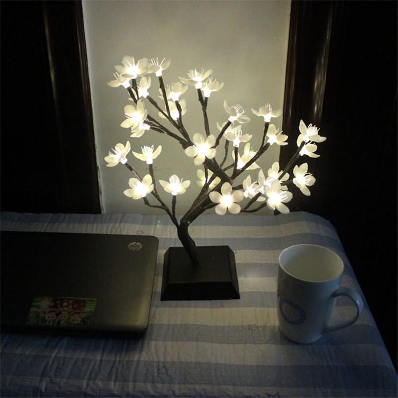 ФОТО Novelty Plum Blossom Tree Lamp LED Rose Blossom Tree Night Lights Table Lamp Christmas Wedding Decoration Lamp Luminarias