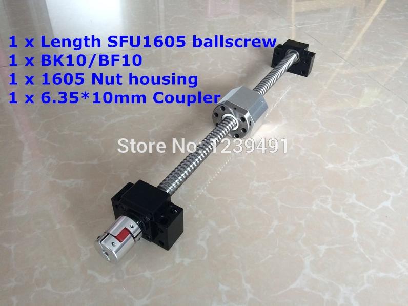 SFU1605 200mm 250mm 300mm 350mm 400mm 450mm 500mm 550mm 600mm ballscrew + BK/BF12 + Nut housing + Coupler RM1605
