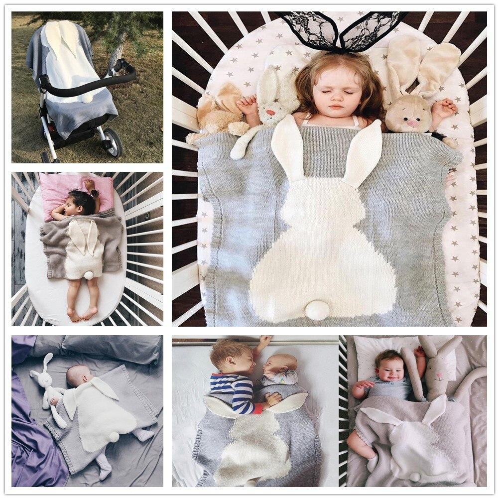 110*130cm quilt Rabbit Ears Cotton Thread Knitted Blanket Throw Bedding Sofa/Air Mantas