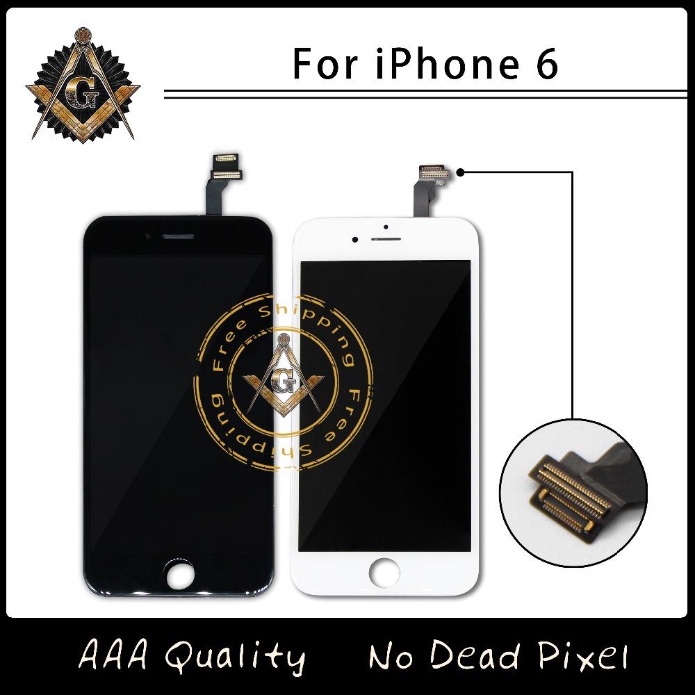 Prix pour 100% sans pixel mort lcd assemblée d'affichage avec cadre pour iphone 6 aaa qualité livraison gratuite