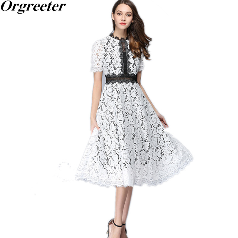 Women Dress Elegant Ladies Lace Party Dresses 2018 Luxury Runway New Women's Slim Patchwork Hollow Out Lace Vestidos Plus Size