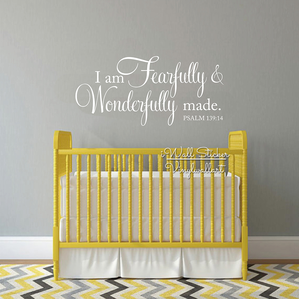 I Am Fearfully & Wonderfully Made Quotes Wall Decal Baby Room Quote ...