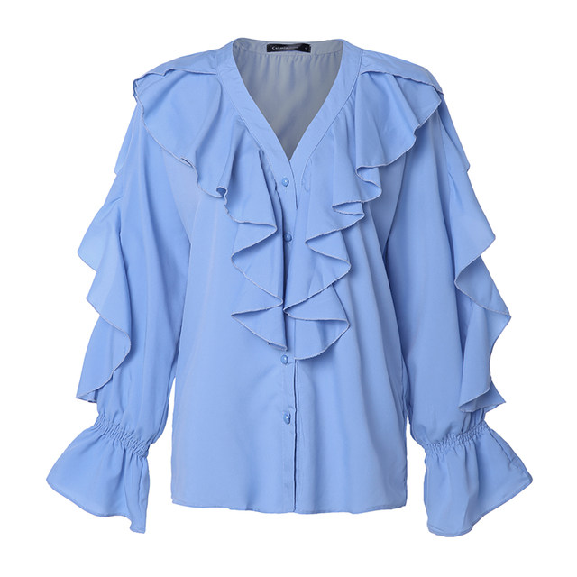 Celmia Stylish Tops Summer Ruffled Blouse Women Sexy V neck Long Sleeve Shirts Female Casual Buttons Street Blusas Plus Size 5XL 27