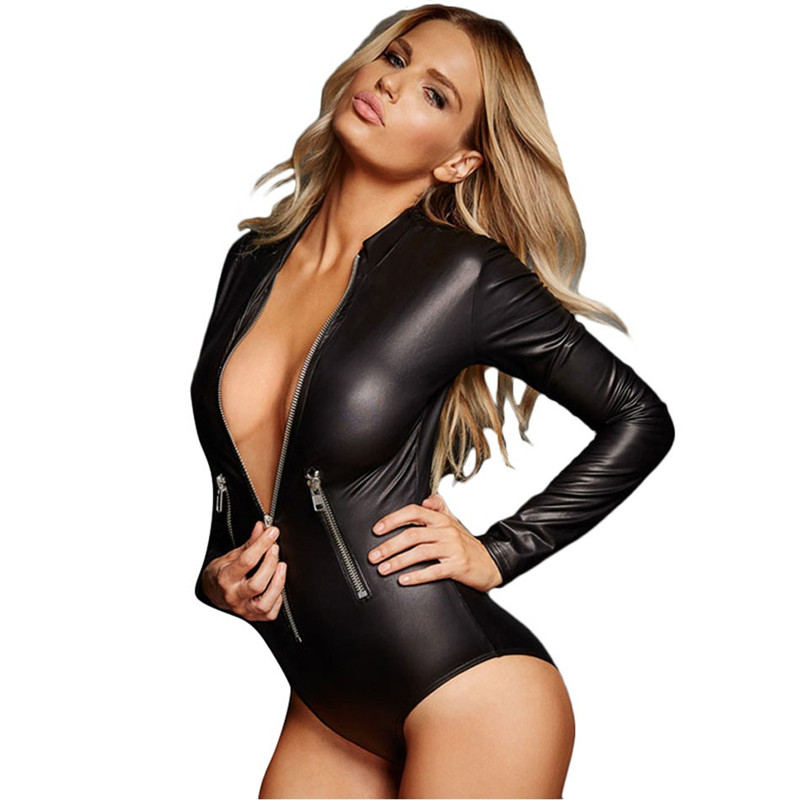 M - XL Plus Size PU Leather Sex Lingerie Sexy Long Sleeve Babydoll Dress Porn Lingerie Sexy Hot Erotic Costumes Teddy Underwear