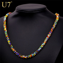 U7 Africano Coral Mujeres Collar de Cuentas de Joyería de Moda Al Por Mayor Chapado En Oro de Moda 2 Tamaño Colorida Del Grano Collares Colgante N470